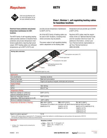 Class I, Division 1, self-regulating heating cables for hazardous ...