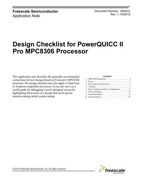 Design Checklist for PowerQUICC II Pro MPC8306 Processor