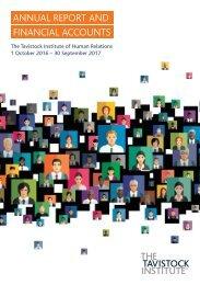 Tavistock Institute of Human Relations Annual Report, 1st October 2016 - 30th September 2017.