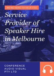 One of the Best Service Provider of Speaker Hire in Melbourne