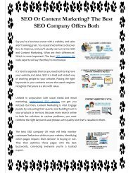 SEO Or Content Marketing The Best SEO Company Offers Both
