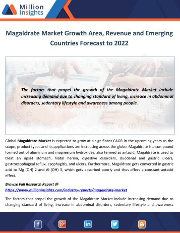 Magaldrate Market Growth Area, Revenue and Emerging Countries Forecast to 2022