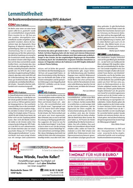 Gazette Zehlendorf August 2018