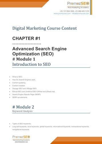 Digital Marketing Course Content at PromozSEO.com