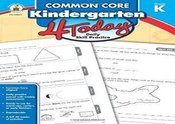 #PDF~ Common Core Kindergarten 4 Today: Daily Skill Practice (Common Core 4 Today) Any device