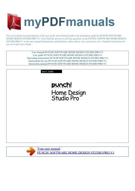 User Manual Punch Software Home Design Studio Pro V1