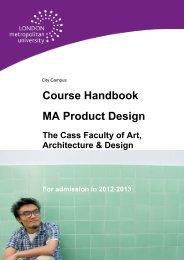 Course Handbook MA Product Design - London Metropolitan ...