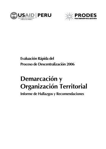 Demarcación y Organización Territorial