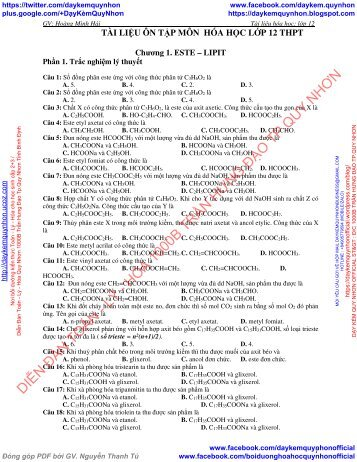 CHƯƠNG 1. ESTE - LIPIT - TÀI LIỆU ÔN TẬP MÔN  HÓA HỌC LỚP 12 THPT - GV HOÀNG MINH HẢI