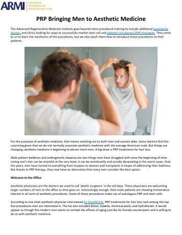 PRP Bringing Men to Aesthetic Medicine