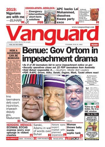 31072018 - Benue: Gov Ortom in impeachment drama