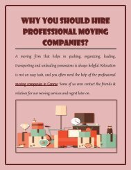 Why You Should Hire Professional Moving Companies