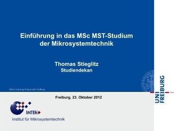 Mikrosystemtechnik - Master of Science - Technische Fakultät