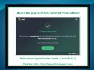 How is the plug-in of AVG removed from Outlook?