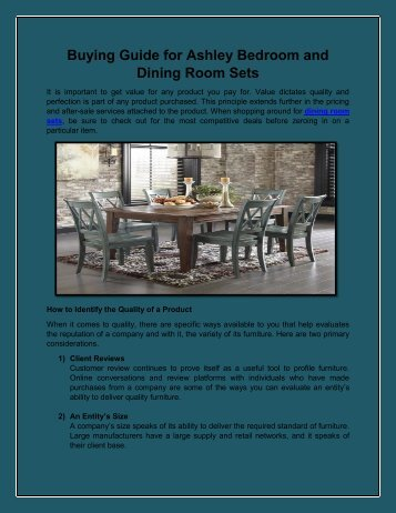 Buying Guide for Ashley Bedroom and Dining Room Sets