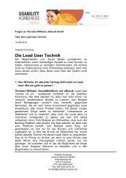 Die Lead User Technik - Usability Kongress 2012