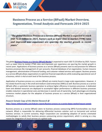 Business Process as a Service (BPaaS) Market Overview, Segmentation, Trend Analysis and Forecasts 2014-2025