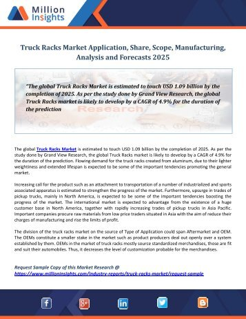 Truck Racks Market Application, Share, Scope, Manufacturing, Analysis and Forecasts 2025