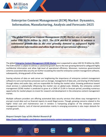 Enterprise Content Management (ECM) Market  Dynamics, Information, Manufacturing, Analysis and Forecasts 2025