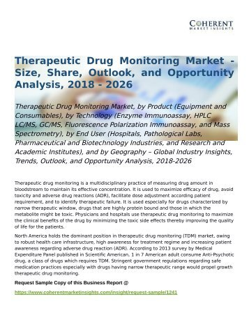Therapeutic Drug Monitoring Market Opportunity Analysis, 2018-2026