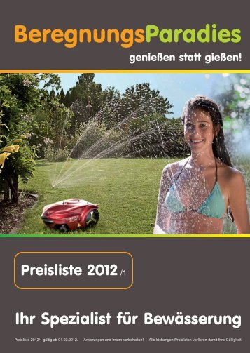 Beregnungsparadies Preisliste 2012 Hunter Gartenbewässerung ...
