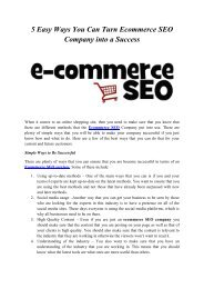 5 Easy Ways You Can Turn Ecommerce SEO Company into a Success