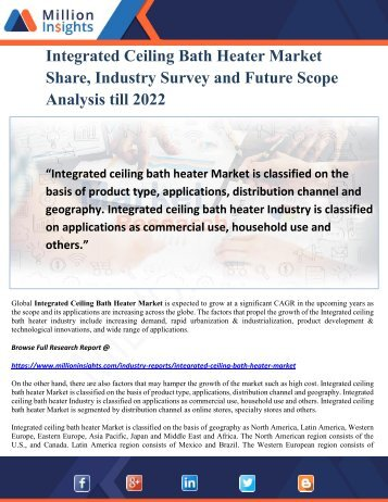 Integrated Ceiling Bath Heater Market Share, Industry Survey and Future Scope Analysis till 2022