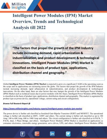 Intelligent Power Modules (IPM) Market Overview, Trends and Technological Analysis till 2022