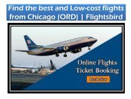 Find the best and cheap flights from Chicago @Flightsbird