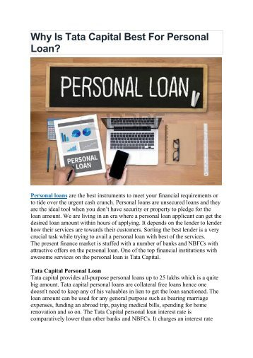 Why Is Tata Capital Best - Personal Loan