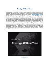 Prestige Willow Tree | Location - Vidyaranayapura