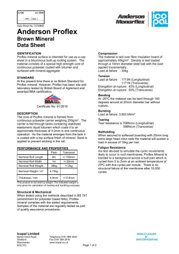 Anderson Proflex Brown Mineral Data Sheet - Icopal