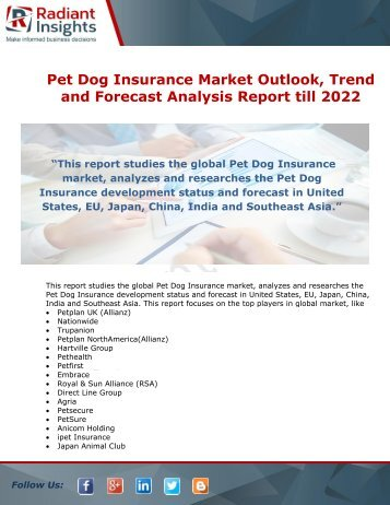 Pet Dog Insurance Market Opportunity, Driving Factors And Highlights of The Market till 2022