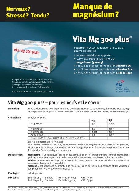 Vita Mg 300 plus® – pour les nerfs et le coeur - Vita Health Care AG