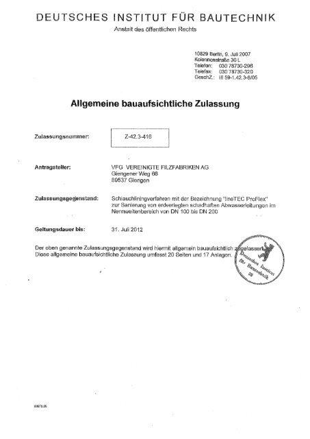 Dibt Zulassung Linetec Proflex Nolte Abwassertechnik
