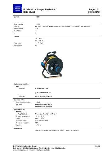 R. STAHL Schaltgeräte GmbH Page 1 / 2 Data Sheet 01.06.2012