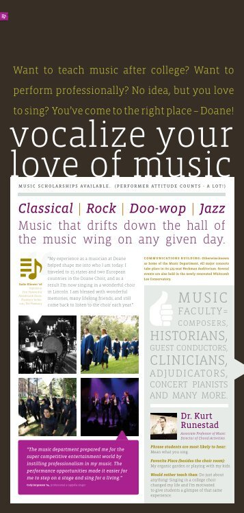 Classical | Rock | Doo-wop | Jazz CLINICIaNS, - Doane College