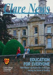 EDUCATION FOR EVERYONE - Clare College - Alumni Home Page