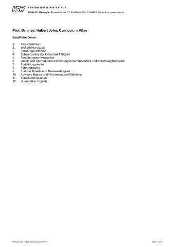 Prof. Dr. med. Hubert John, Curriculum Vitae - Kantonsspital ...