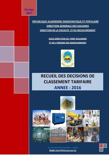 Recueil décision de classement 2017