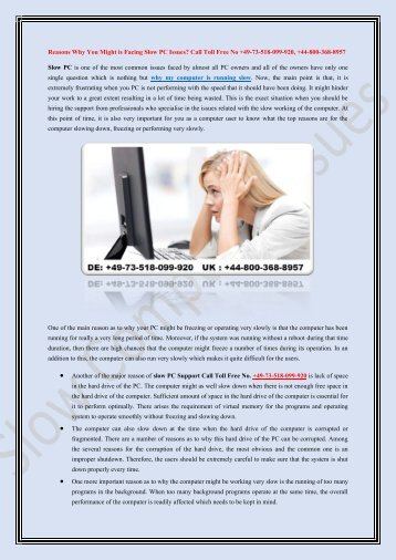 Is Your Computer Freezing at Regular Intervals? Call Toll Free No. +49-73-518-099-920