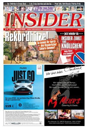 INSIDER Osnabrück // August 2018 // No. 421