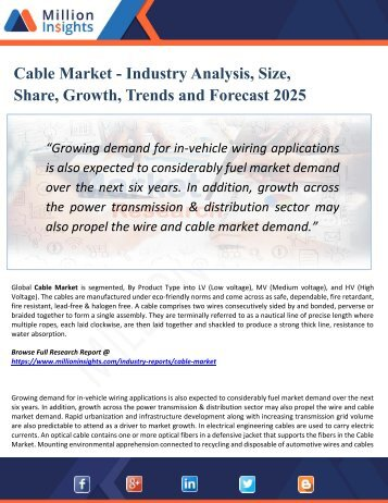 Cable Market Key Players, Industry Overview, Supply and Consumption Demand Analysis to 2025
