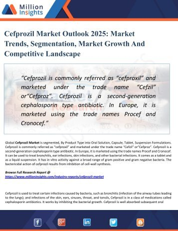 Cefprozil Market Perspective, Comprehensive Analysis, Size, Share, Growth, Segment, Trends and Forecast 2025