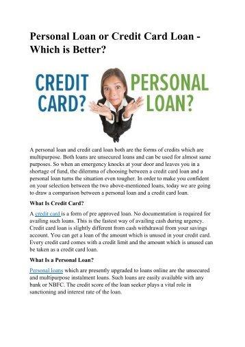Personal Loan or Credit Card Loan