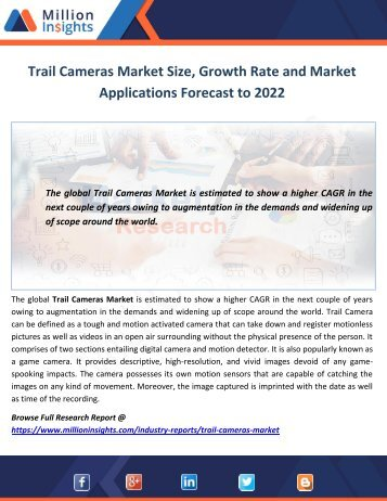 Trail Cameras Market Size, Growth Rate and Market Applications Forecast to 2022