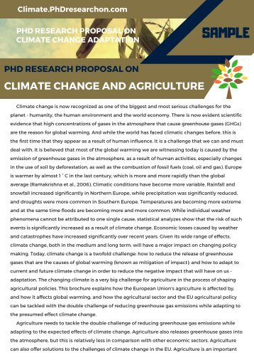 Climate Change and Agriculture PhD Research Proposal Sample