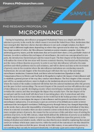 Microfinance PhD Research Proposal Sample