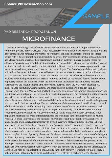 Microfinance PhD Research Proposal Sample