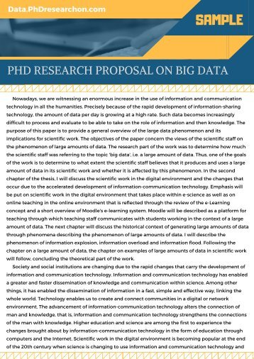 Big Data PhD Research Proposal Sample